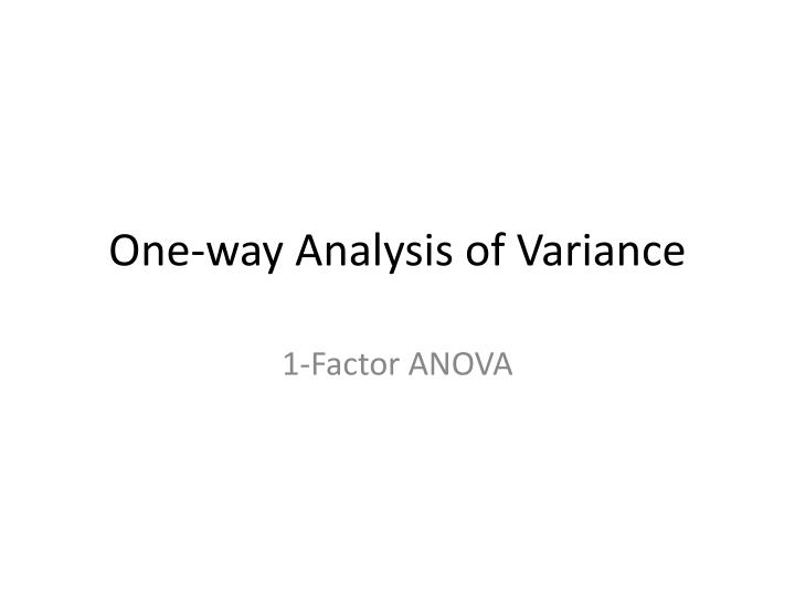 one way analysis of variance n.