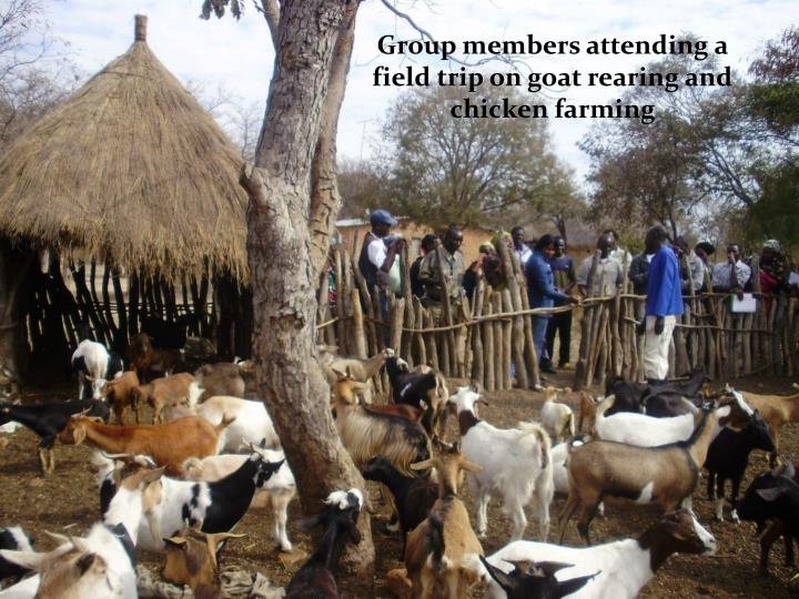 Group members attending a field trip on goat rearing and chicken farming