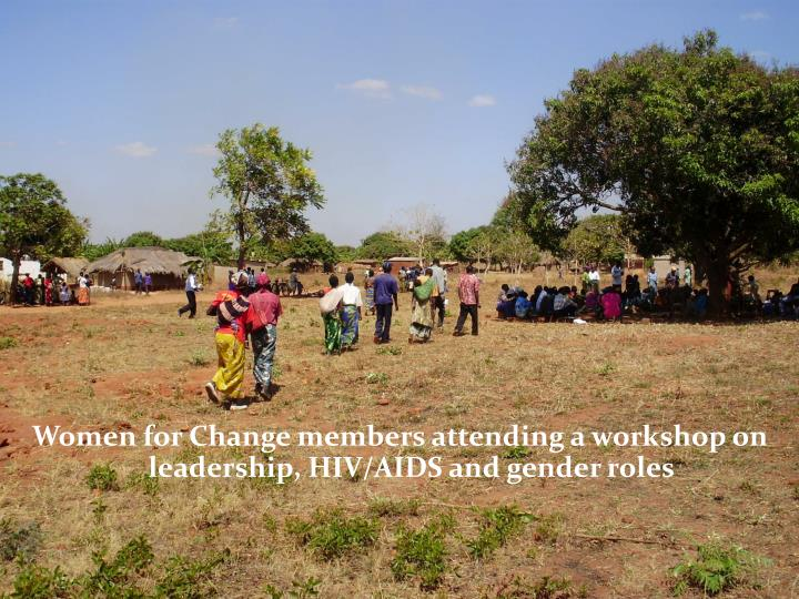 Women for Change members attending a workshop on leadership, HIV/AIDS and gender roles