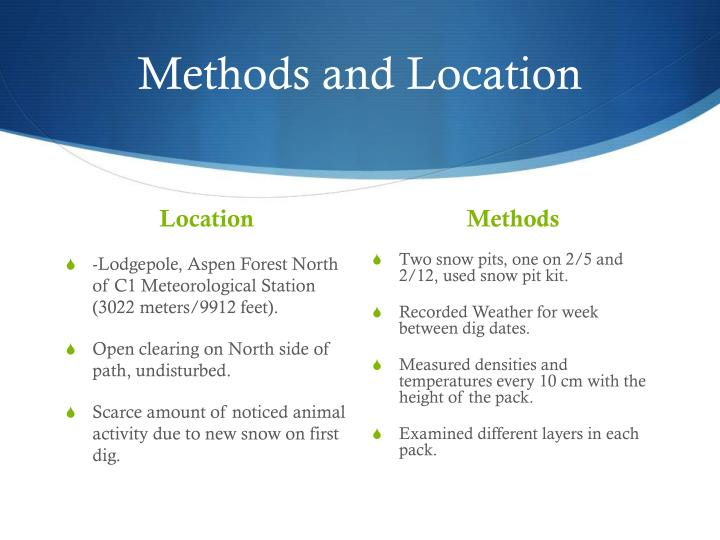 Methods and Location