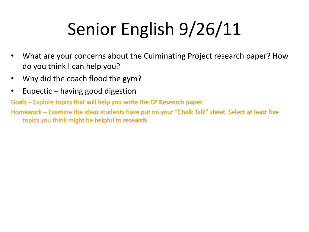 senior project research paper ideas