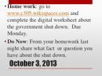 october 3 2013