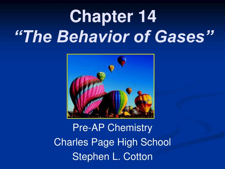 chapter 14 the behavior of gases n.