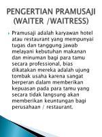 pengertian pramusaji waiter waitress