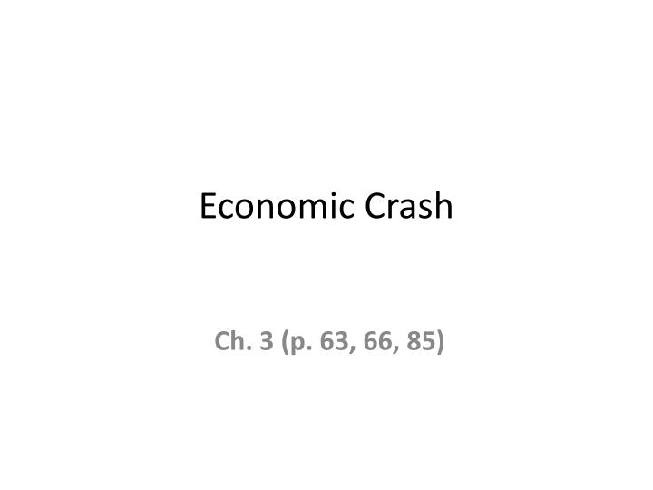 economic crash n.