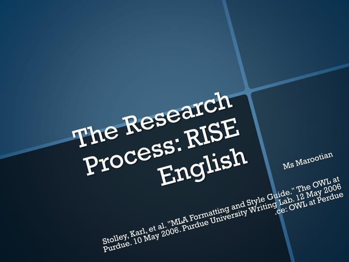the research process rise english n.