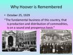 why hoover is remembered