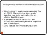 employment discrimination under federal law