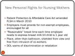 new personal rights for nursing mothers