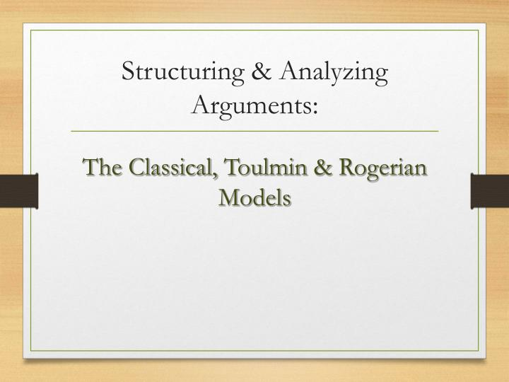 structuring analyzing arguments n.