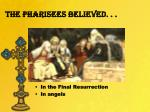 the pharisees believed