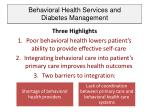 behavioral health services and diabetes management