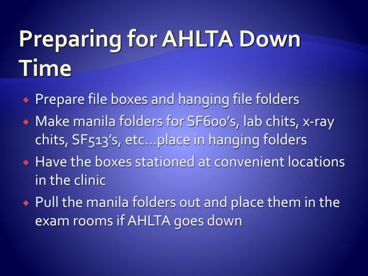 Preparing for AHLTA Down Time