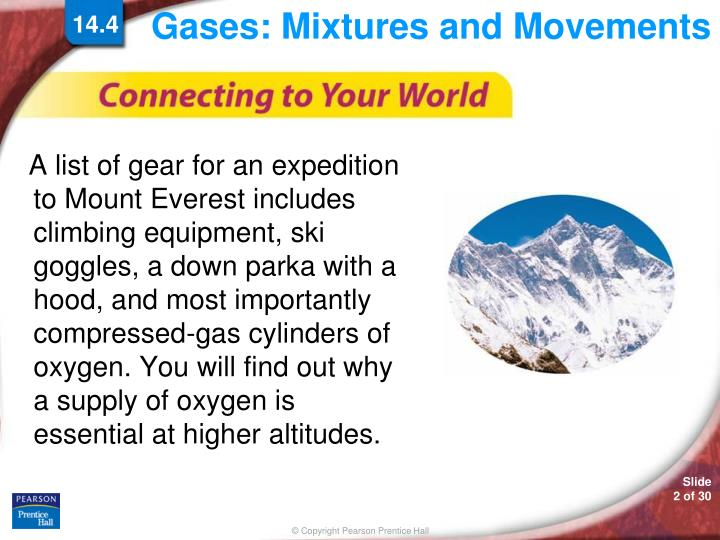 Gases mixtures and movements