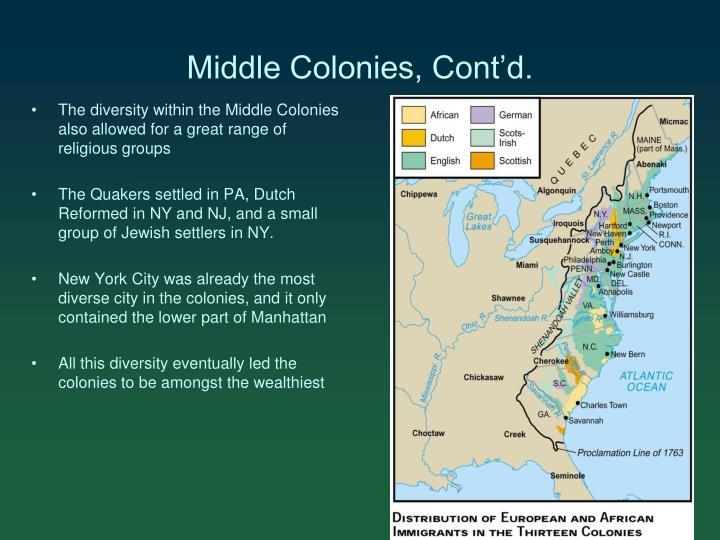 Middle Colonies, Cont'd.