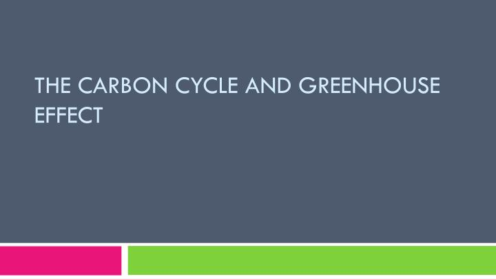 the carbon cycle and greenhouse effect n.