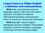 lingua franca or pidgin english a definition and characteristics