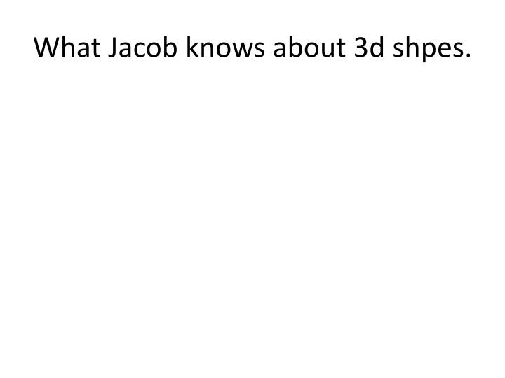 what jacob knows about 3d shpes n.