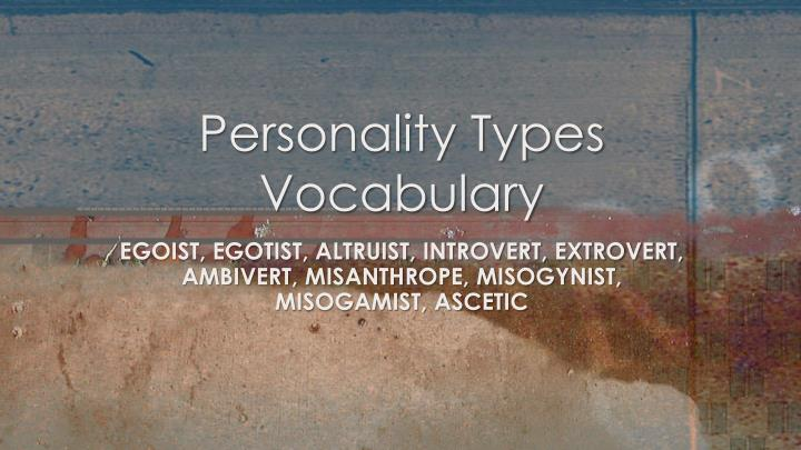 personality types vocabulary n.