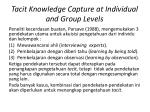 tacit knowledge capture at individual and group levels2