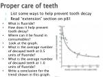 proper care of teeth