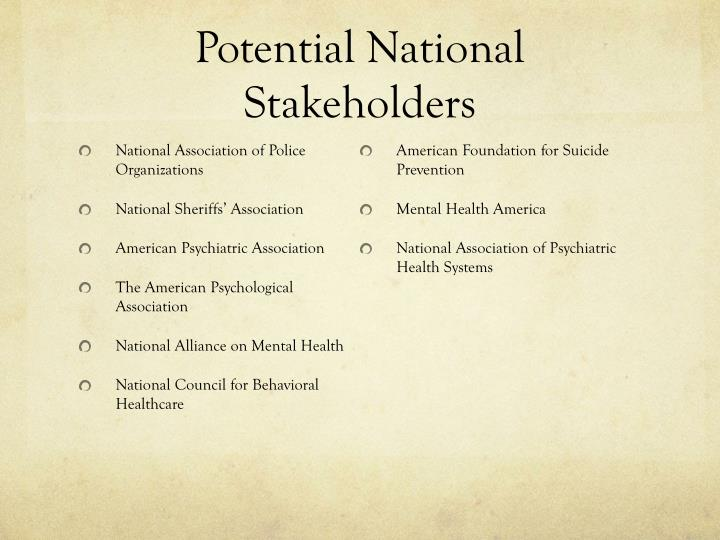 Potential National Stakeholders