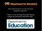 dfe department for education