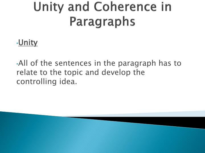 unity and coherence in paragraphs n.
