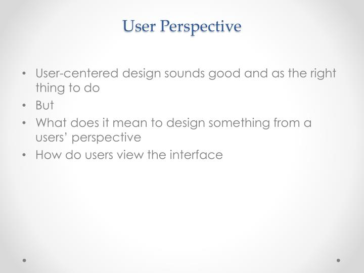 User perspective