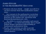 james stigler in the mathamatyc educator