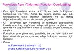 fonksiyon a r y klemesi function overloading