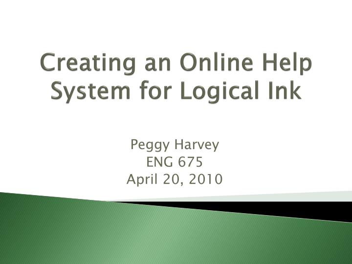 creating an online help system for logical ink n.