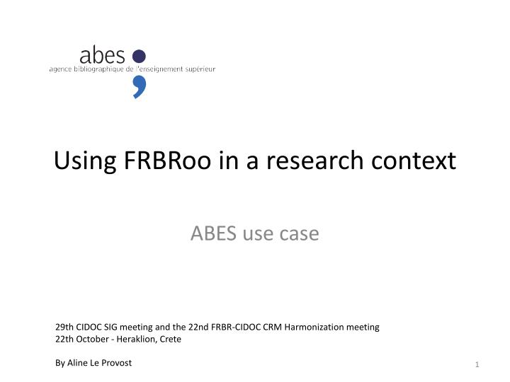 using frbroo in a research context n.