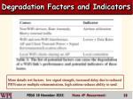 degradation factors and indicat ors