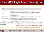 open api high level description