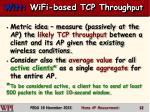 witt wifi based tcp through put