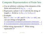 computer representation of finite sets