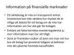 information p finansiella marknader