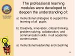 the professional learning modules were developed to deepen the understanding of