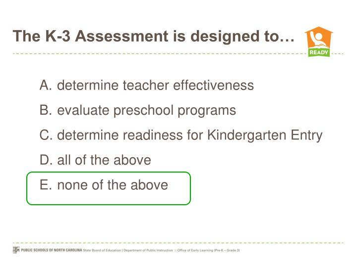 The K-3 Assessment is designed to…