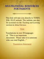 multilingual resources for parents