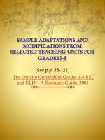 sample adaptations and modifications from selected teaching units for grades 1 8 see p p 55 121