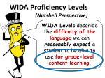 wida proficiency levels nutshell perspective