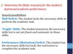 2 determine the likely reason s for the student s depressed academic performance