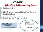 role of the rti leadership team