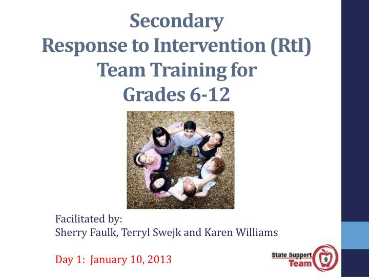 secondary response to intervention rti team training for grades 6 12 n.