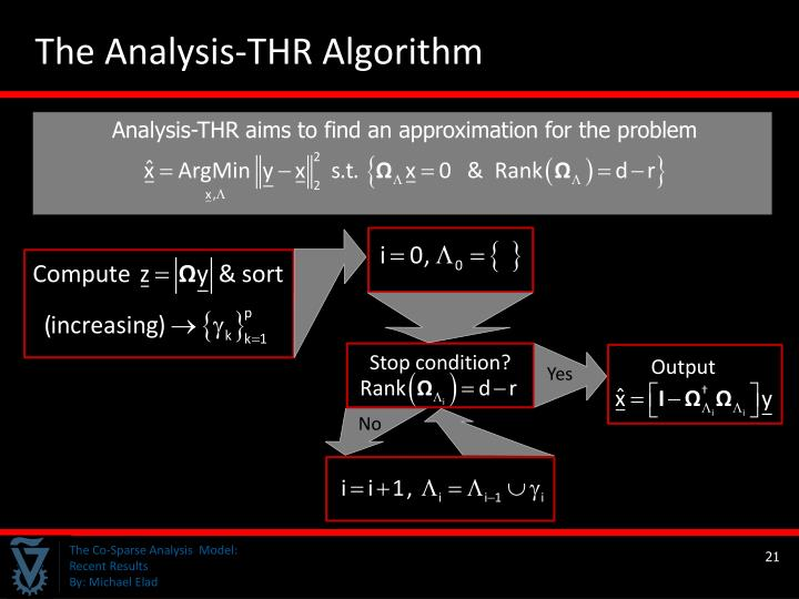 Analysis-THR aims to find an approximation for the problem