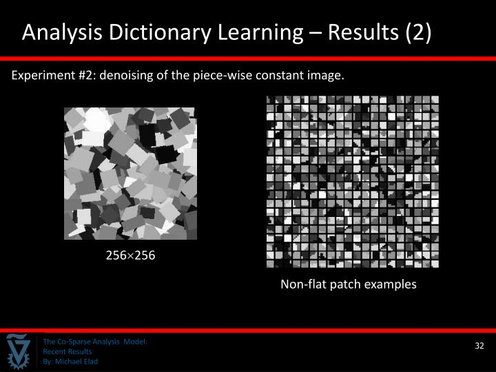 Analysis Dictionary Learning – Results (2)