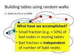 building tables using random walks