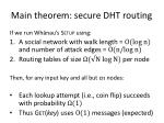 main theorem secure dht routing